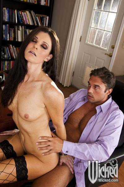 Slim MILF in fishnet stockings India Summer gets banged in the office