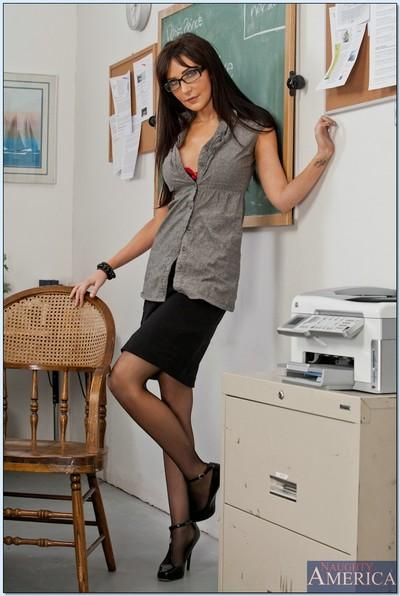 MILF teacher in hot stockings Diana Prince gets naked in the classroom