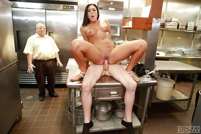 Latina milf Gianna Nicole fucks in kitchen with a cook so hard