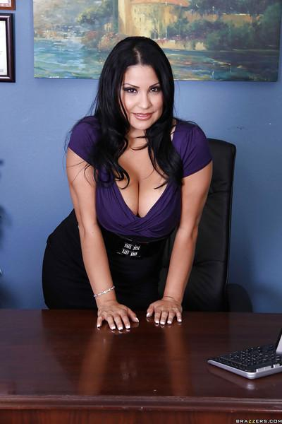 Latina MILF Sophia Lomeli strips to lingerie and stockings in office