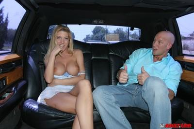 Top-heavy MILF has some pussy licking and cock sucking fun on the back seat