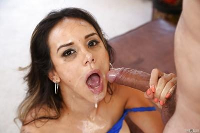 Deepthroat blowjob done by a Latina milf Nadia Styles, who loves cumshots
