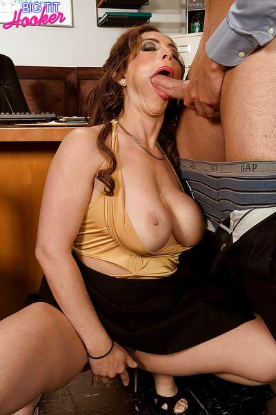 Busty MILF office worker Savannah Jane deepthroating cock while giving bj