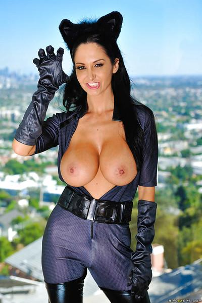 Sexy cat-woman with big tits Ava Addams does sexy things tonight