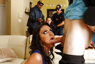 Milf wife Jessica Jaymes sucks a big horny dong and swallowing