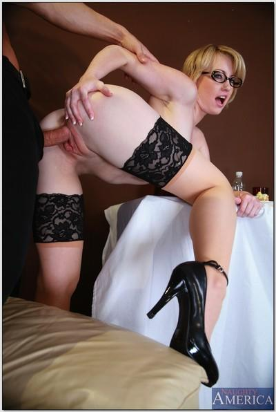 Heated office MILF in glasses and stockings Amy Amoure banged hard