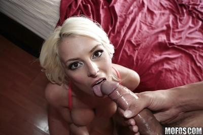 Pretty blonde babe with brown eyes Kali gives a stunning blowjob