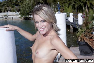 See tiny tits of pretty milf Jessy outdoor posing for you