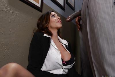 Interracial office sex with Latina MILF Ariella Ferrera giving BBC a bj