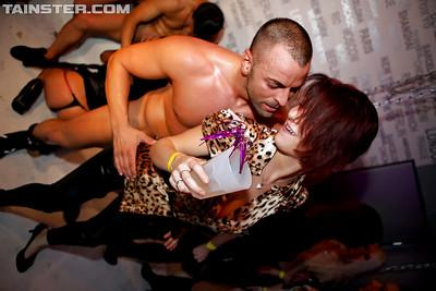 Steaming hot gals spend some good time with male strippers at the party