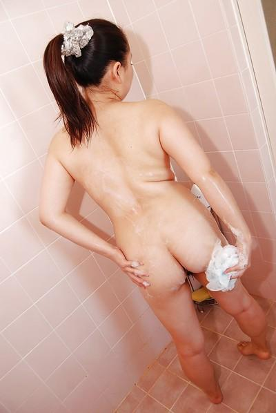 Chubby asian MILF with shaggy cunt Kaho Itou taking shower