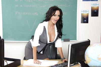 Hot MILF teacher Ava Addams exhibiting huge tits at school