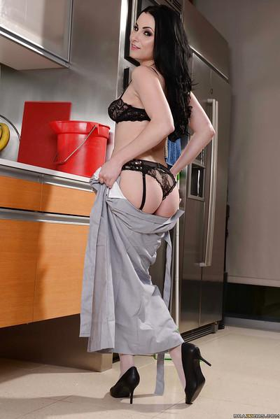 Hottest black-haired chick Veruca James demonstrates her nice booty