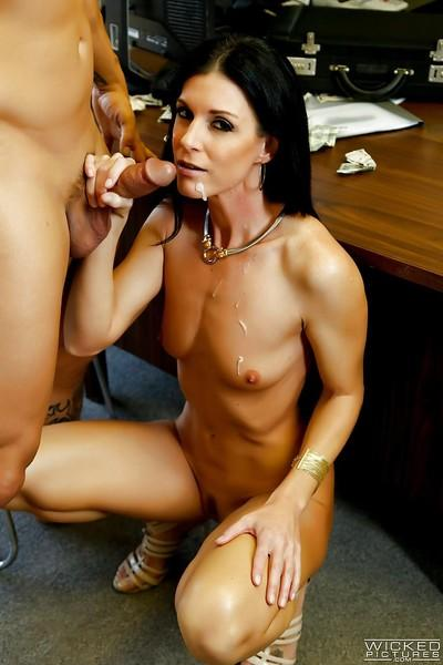 Skinny mature MILF India Summer deepthroating dick in office