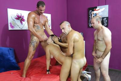 Amateur Amanda X was fucked hard by gang of horny hard poles