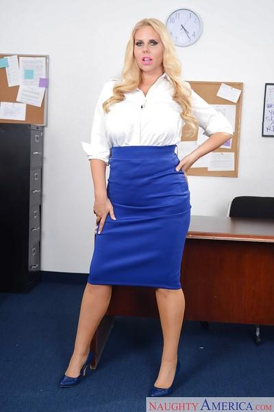Office blonde Karen Fisher demonstrates her amazing enhanced tits