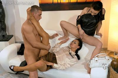 Hot MILFs Elis Diamond & Ally Style getting pissed on and fucked hardcore