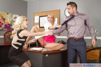 Blondes secretaries Aaliyah and Ashley Fires are banging with boss