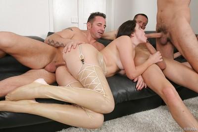 Slutty pornstar Bobbi Starr takes a cock in all 3 fuck holes
