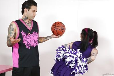 Clothed milf Joanna Angel is sucking cock in a cheerleader outfit