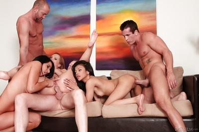 Lascivious MILFs are into hardcore groupsex with horny guys