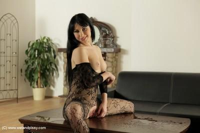 Awesome black-haired beauty Luna Ora is peeing in close-up scene
