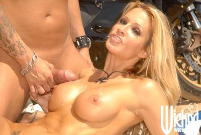 Horny MILF with big tits Jessica Drake fucking a biker