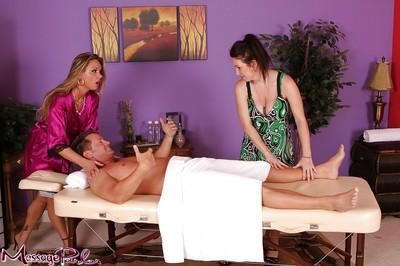 Massage workers Rayveness and Amanda give man massage and blowjob