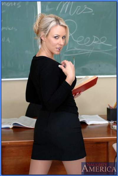 Stunning MILF teacher Carolyn Reese stripping from red lingerie
