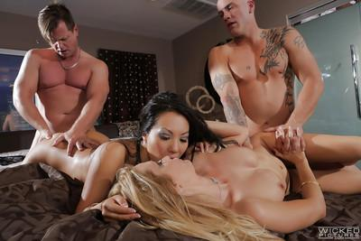 Asa Akira and Jessica Drake are fucking with this long-dicked dude