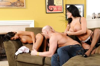 Sienna West and Lexi Diamond are giving this dude a deep blowjob