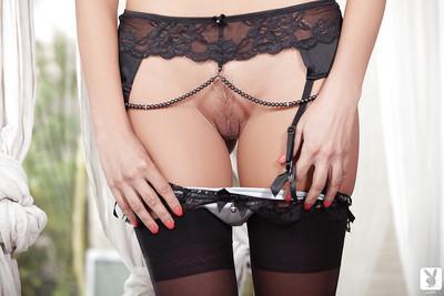 Milf blondie Elsa Tes shows her amazing European body in stockings