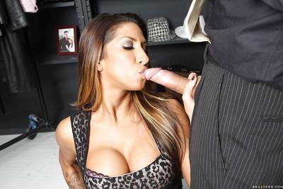 Hardcore ass fucking starts for Latina milf Kayla Carrera with blowjob