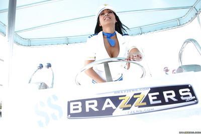 Indian MILF in captain uniform Priya Anjeli Rai stripping on the yacht