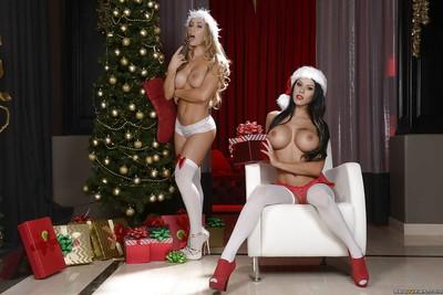 Lesbians Nicole Aniston and Peta Jensen pose non nude in white stockings