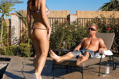 Outdoor hardcore fuck at the pool features milf girl Kylee Strutt