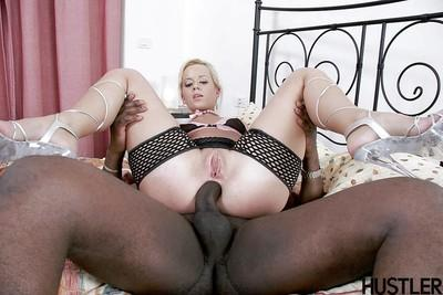 Sexy blonde mom Cindy Dollar taking black penis up filthy asshole
