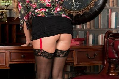 Office worker and mom Leo Star poses for hot lingerie and stocking set