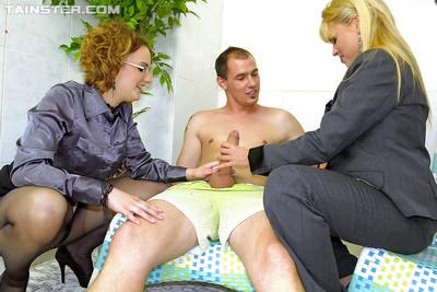 Lascivious MILF Barra Brass is into CFNM threesome groupsex