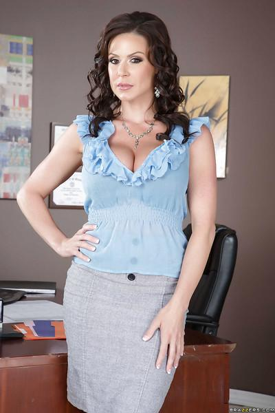 Milf babe in amazing stockings Kendra Lust poses in her office