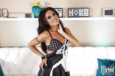 Pretty asian maid Kaylani Lei slipping off her uniform and lingerie