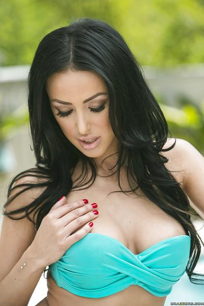 Ravishing brunette babe Breanne Benson slipping off her bikini