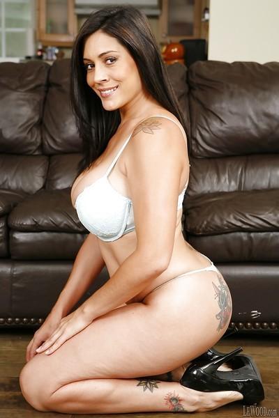 Brunette Latina pornstar Raylene teases her pornstar ass in lingerie