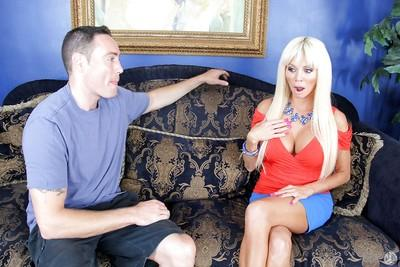 Blonde chick Nikita Von James has her European milf mouth fucked
