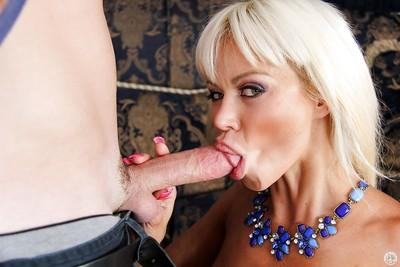 Blonde chick Nikita Von James has her European milf mouth fucked