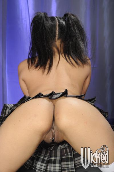 Asian babe in white stockings Kaylani Lei spreading her legs