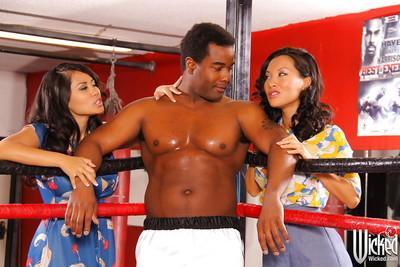 Hot interracial threesome with sexy Asa Akira and Jessica Bangkok