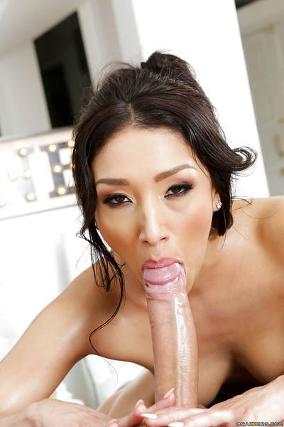 Horny Asian pornstar Vicki Chase delivers a sloppy POV blowjob
