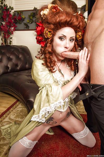 Glamorous redhead slut fucks a huge meaty pole and tastes some cum