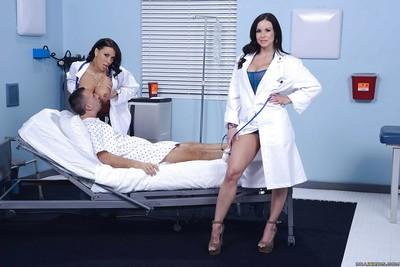 Hot nurses Kendra Lust and Rachel Starr become wild with crazy patient